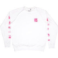 A white long sleeve shirt with pink Snow Fairy themed 'badges' going down the sleeves.