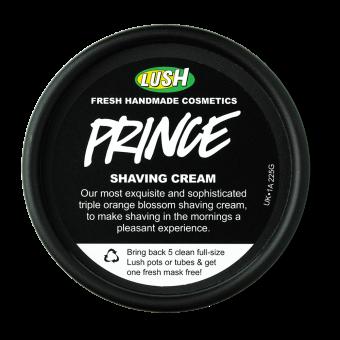 Vista dall'alto della confezione della Crema lenitiva per rasatura o depilazione con rosa e burri naturali Prince