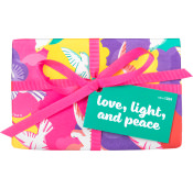 Pink, Yellow and Purple bird patterned present with pink ribbon on white background