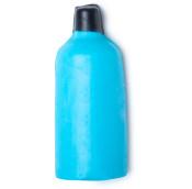 Gel doccia nudo a forma di bottiglia di colore azzurro con tappo di nero di cera.