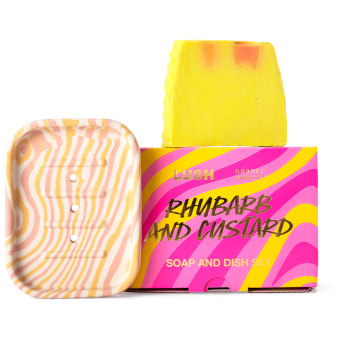 yellow and pink themed soap dish gift set