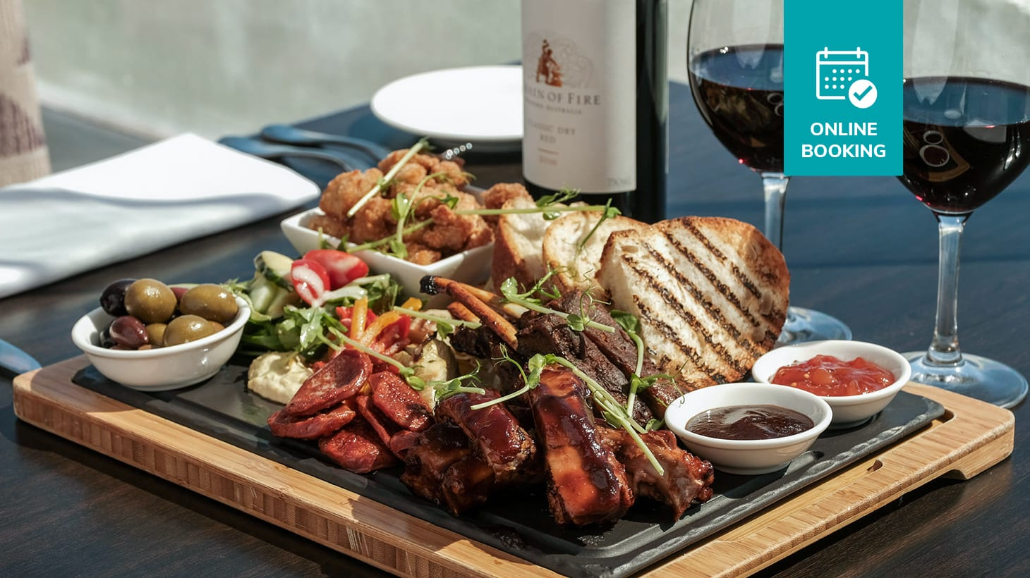 BBQ Meat Platter with a Bottle of Wine on Scarborough Beach - Just $45 for Two! Straits Cafe at Rendezvous Hotel Scarborough Scarborough