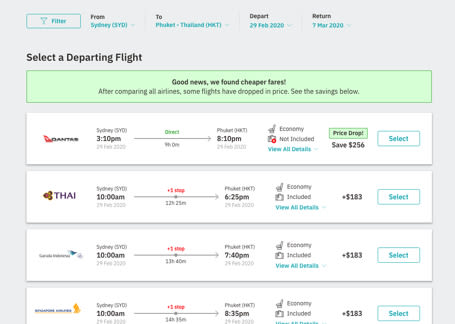 Choose flights from your favourite airline