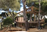 New lodge cabins at the Camp du Domaine campsite