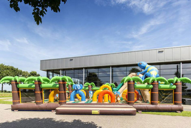 The new inflatable play area on the Camping Club Les Brunelles campsite