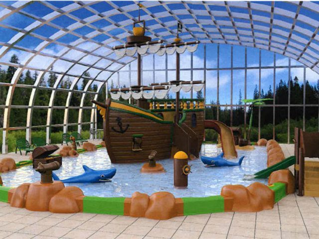 A new 350 m² paddling pool in the Les Alicourts Resort campsite