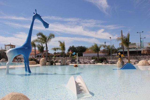 The aquatic park of the Camping Els Prats Village campsite (Miami Platja)