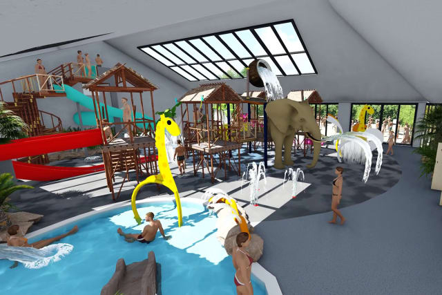 The opening of an aquatic play area at the Le P'tit Bois campsite