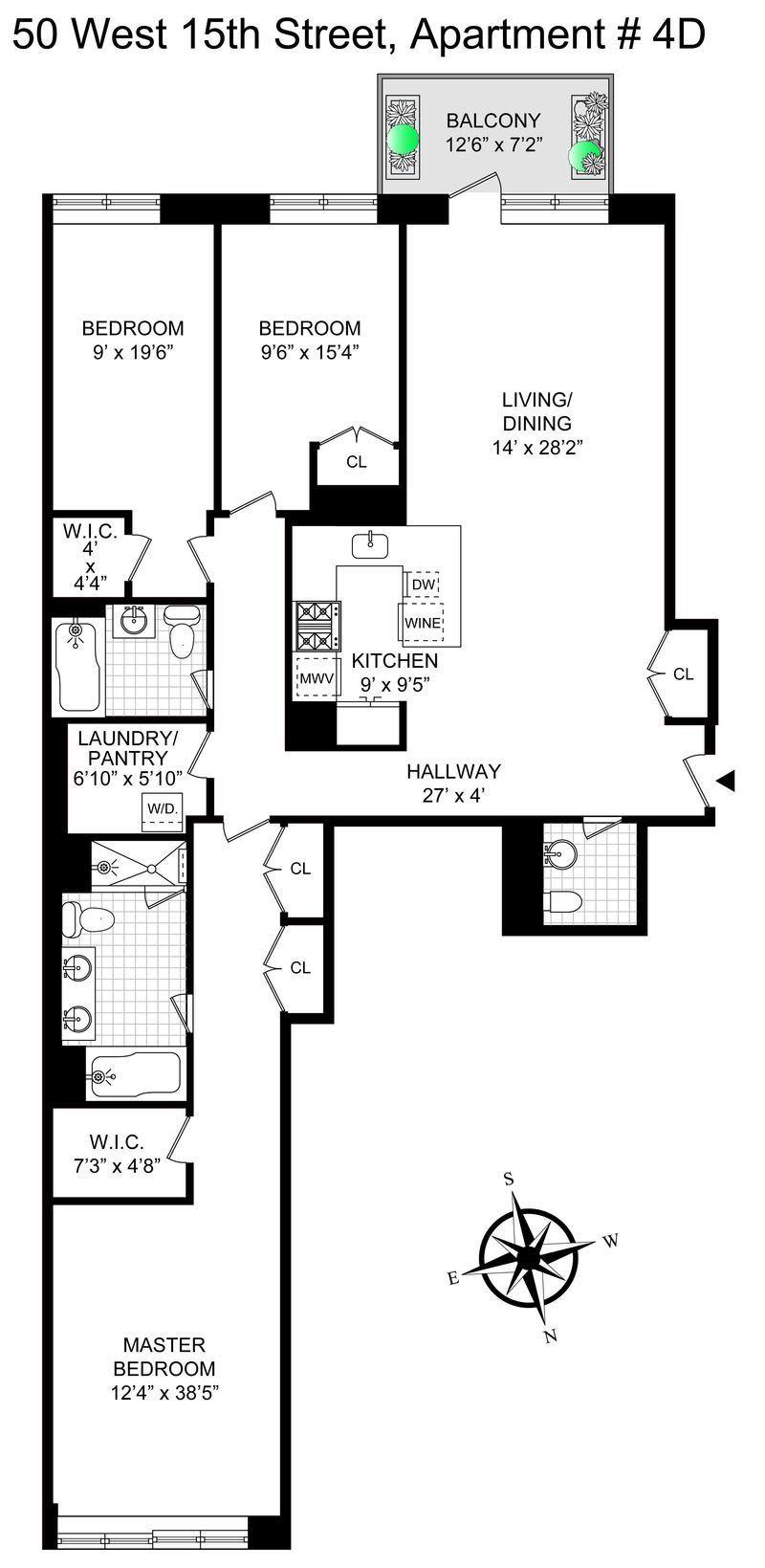 Sprawling Flatiron Three Bedroom with Balcony!
