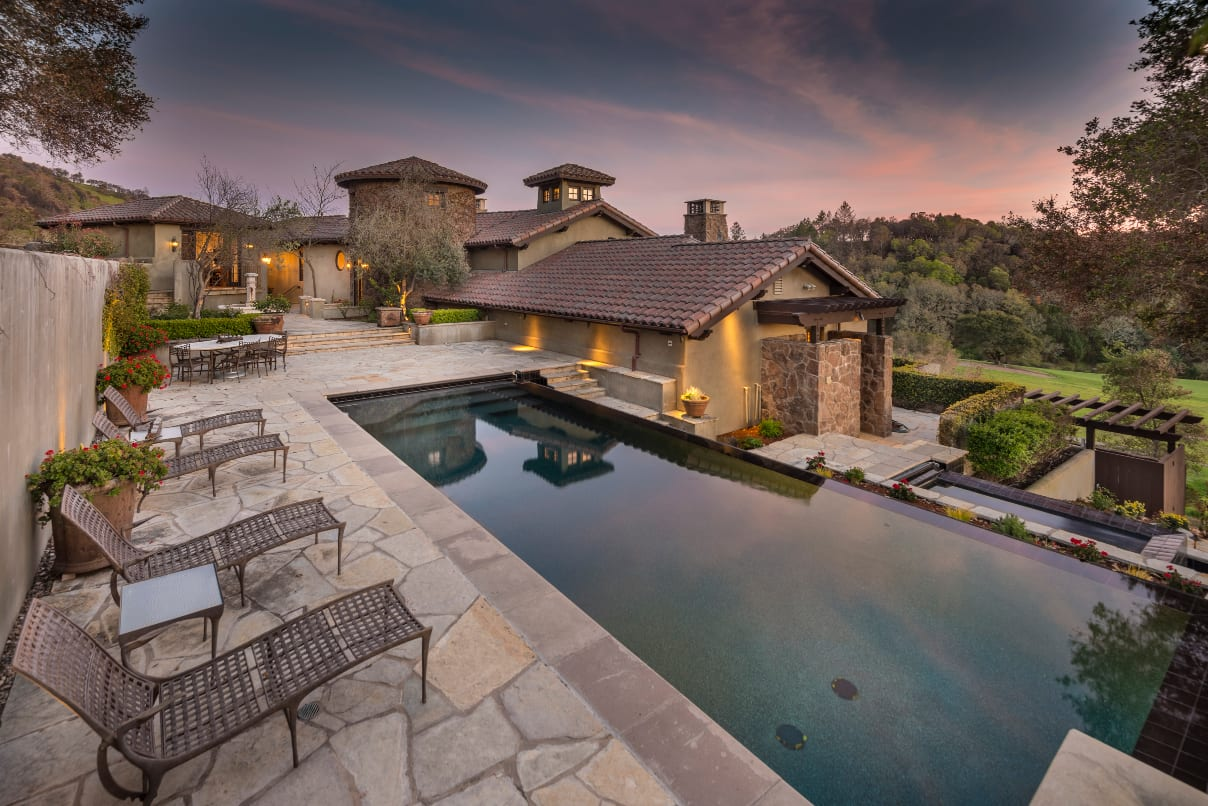 Mediterranean Estate with Black Bottom Infinity Pool is One of Santa Rosa's Finest