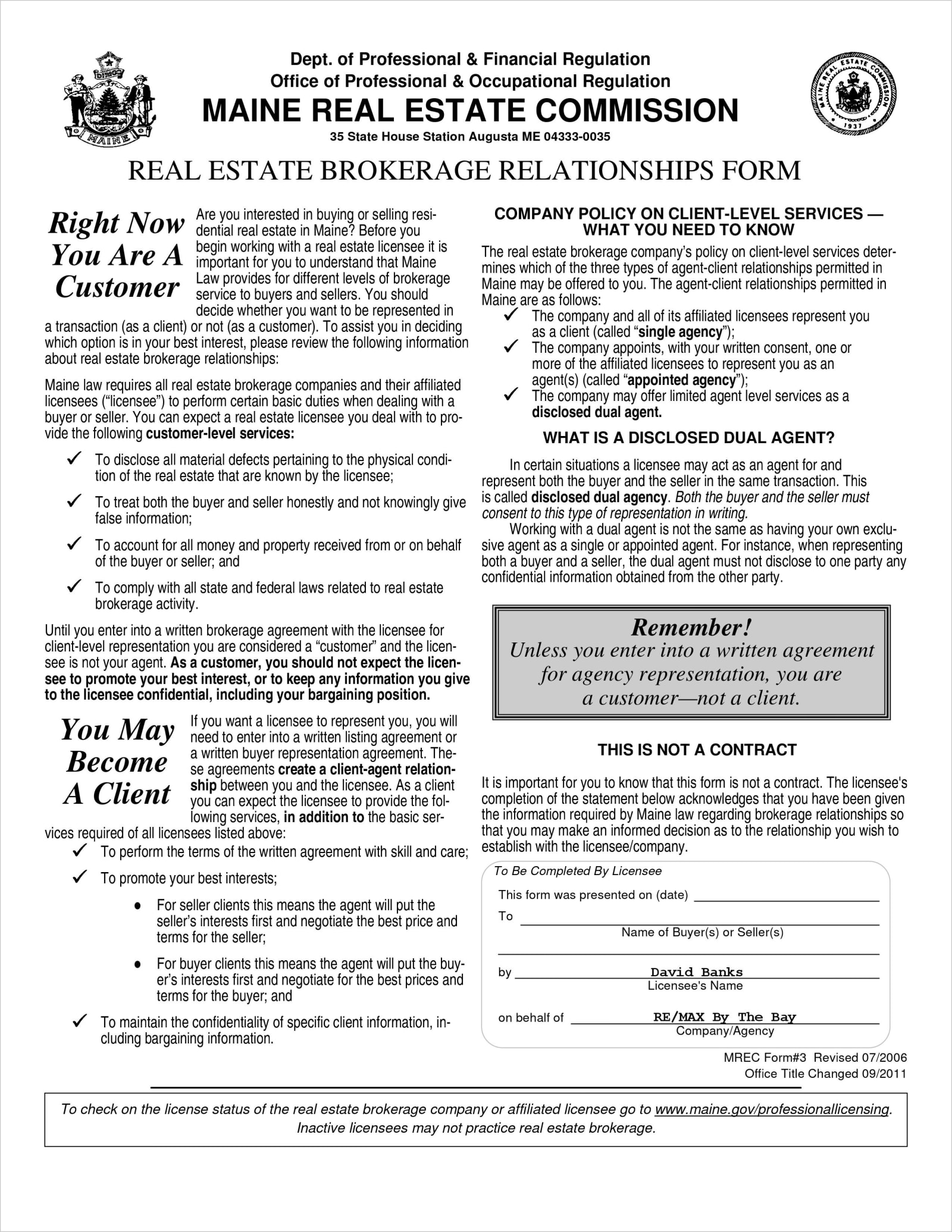 Real Estate Brokerage Relationships Form