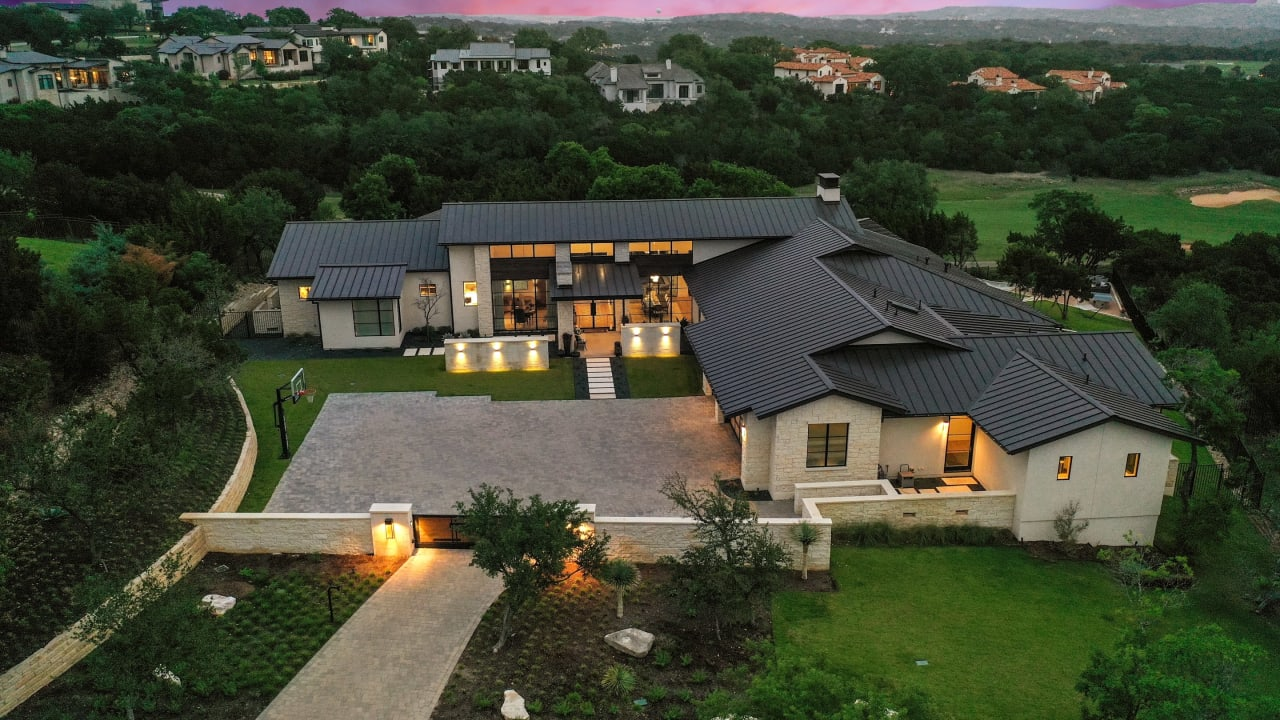 Single Story Contemporary backing to Golf Course