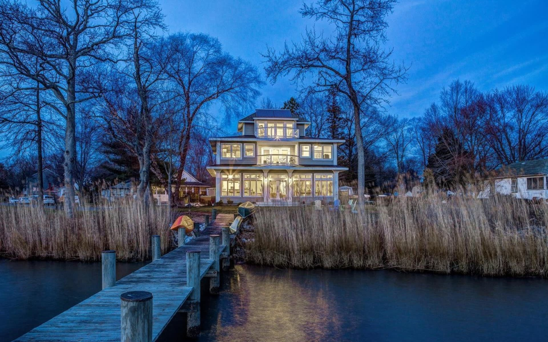 Stunning Industrial Chic Waterfront Home   5739 Shore Drive video preview