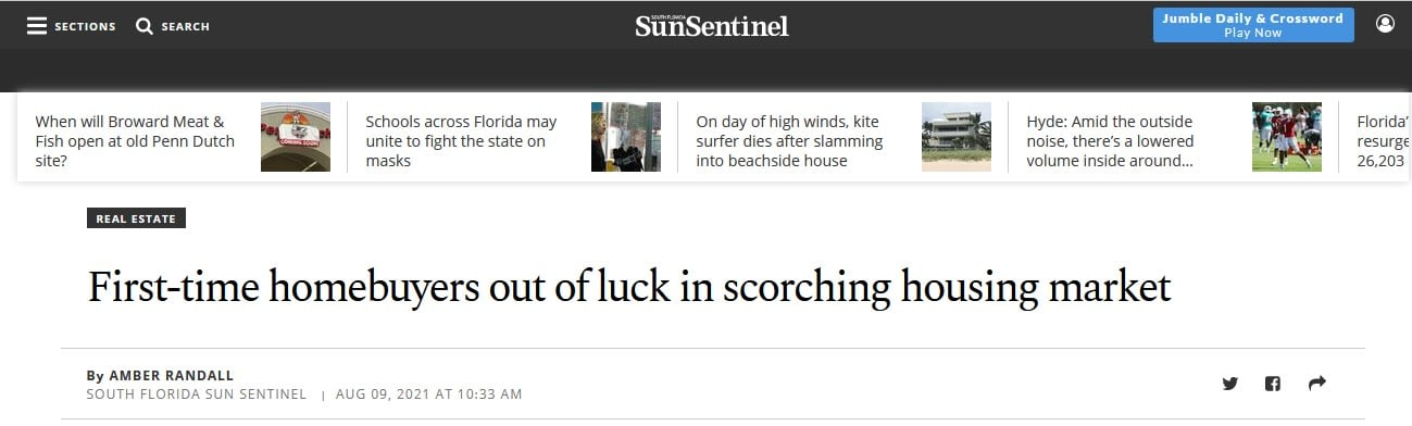 Broker Patty Da Silva speaks with the SunSentinel about the current Real Estate Market