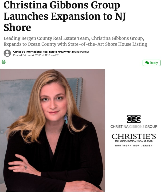 Christina Gibbons Group Launches Expansion to NJ Shore