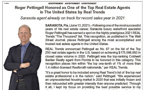 Roger Pettingell Honored as One of the Top Real Estate Agents in The United States by Real Trends