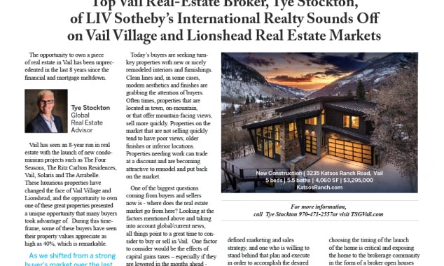 The Stockton Group Sounds Off On Vail Village And Lionshead Real Estate Markets