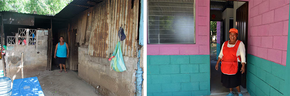 Giveback Homes before and after - Nicaragua