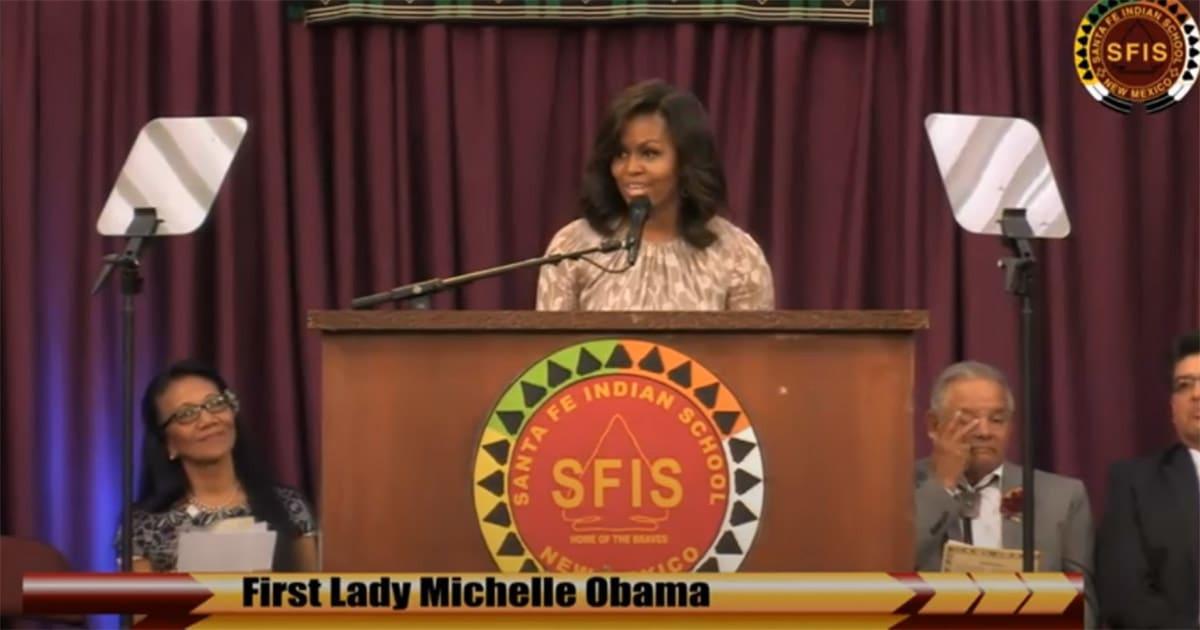First Lady, Michelle Obama, Speaks at Santa Fe Indian School Graduation