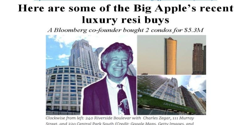 Here are some of the big apple's recent luxury resi buys