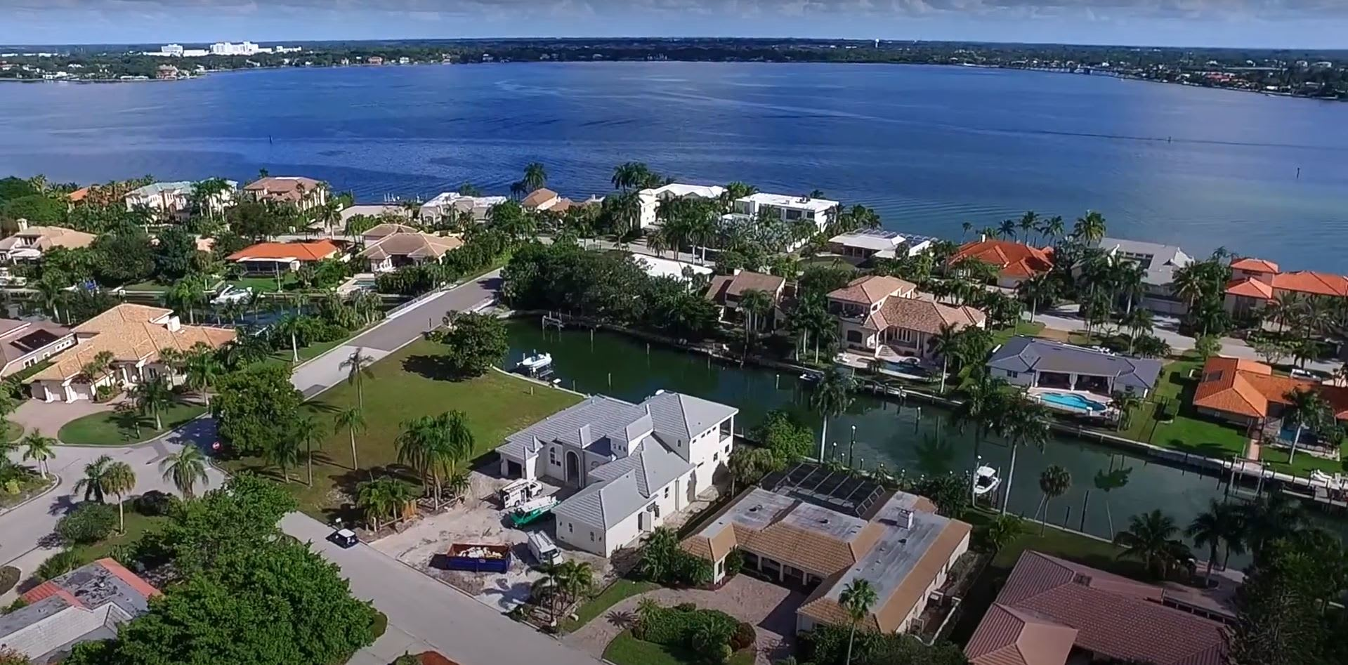 Aerial View Of 646 South Owl Drive Waterfront Home For Sale On Bird Key In Sarasota, Florida video preview