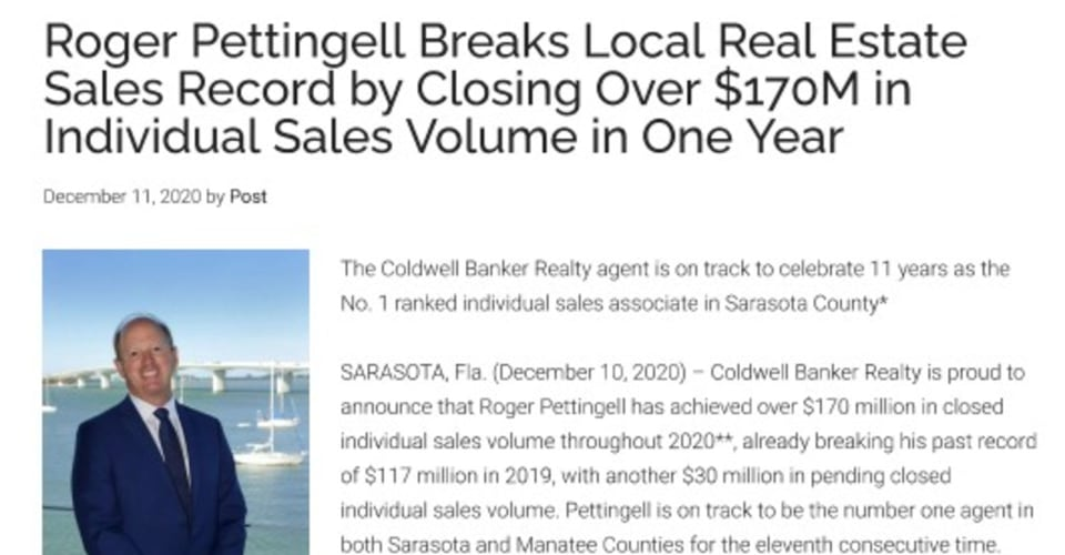 Roger Pettingell Breaks Local Real Estate Sales Record by Closing Over $170M in Individual Sales Volume on One Year