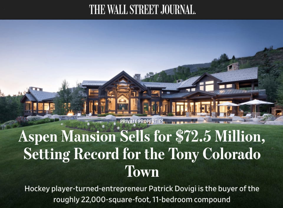 Aspen Mansion Sells for $72.5 Million, Setting Record for the Tony Colorado Town cover