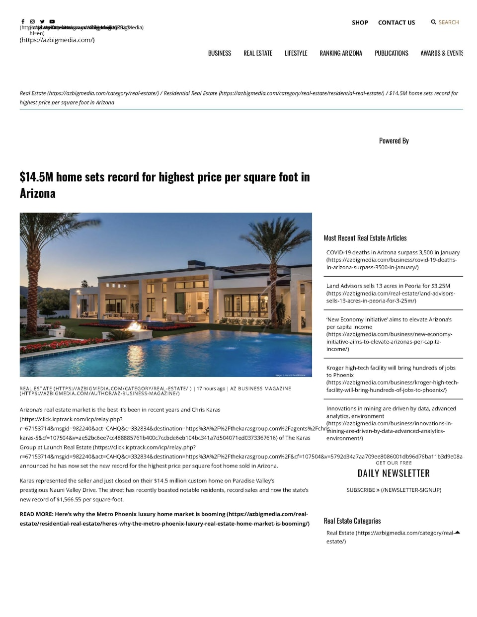 $14.5M home sets record for highest price per square foot in Arizona