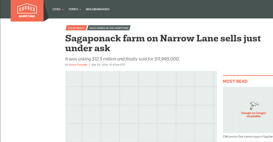 Sagaponack farm on Narrow Lane sells just under ask