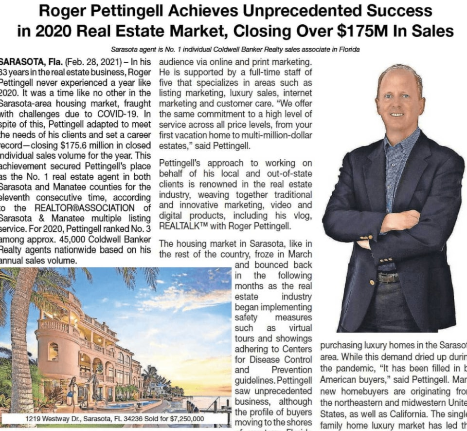 Roger Pettingell Achieves Unprecedented Success in 2020, Closing Over $175M in Sales.