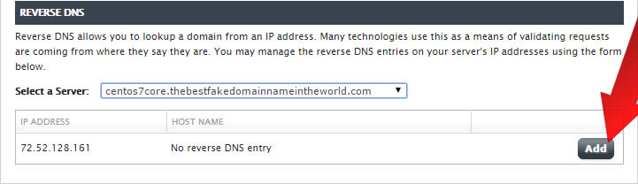 Using Manage to Update Reverse DNS