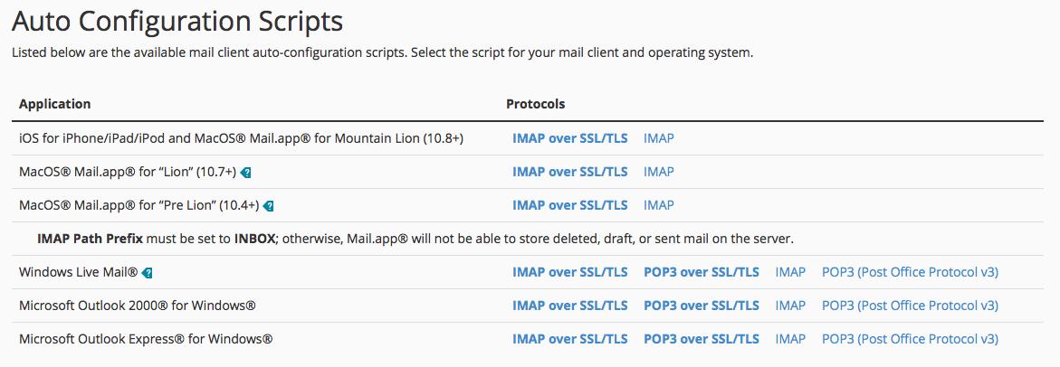 cPanel automatic configuration scripts