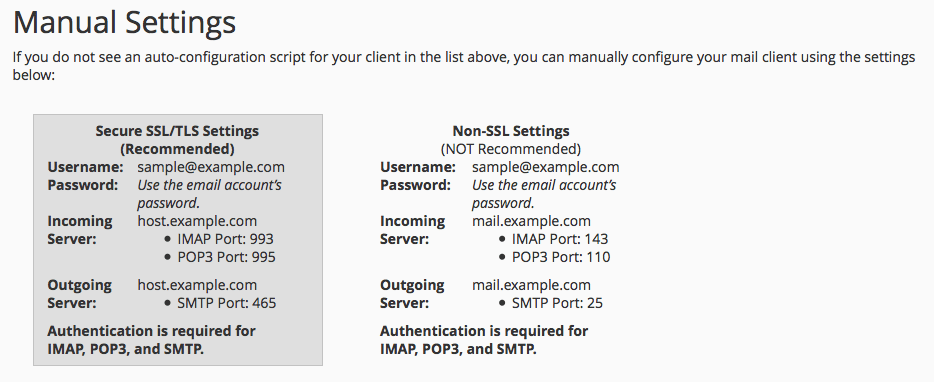 Manual settings for cPanel accounts