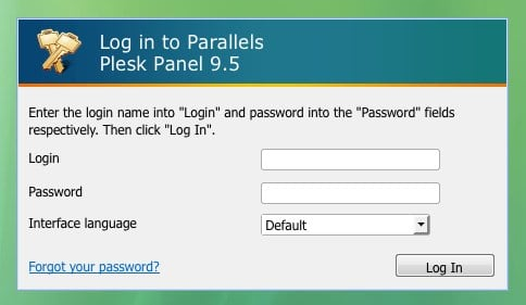 Log in to Parallels Plesk Panel