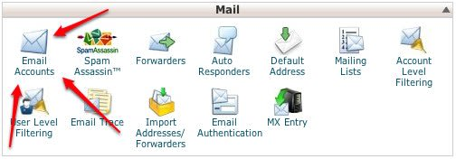 """The Email Accounts button is the first icon in the """"Mail"""" section of your cPanel account."""