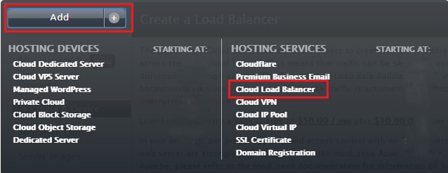 adding a cloud load balancer to your account screenshot