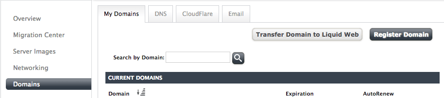 Register a new domain right from your Liquid Web control panel.