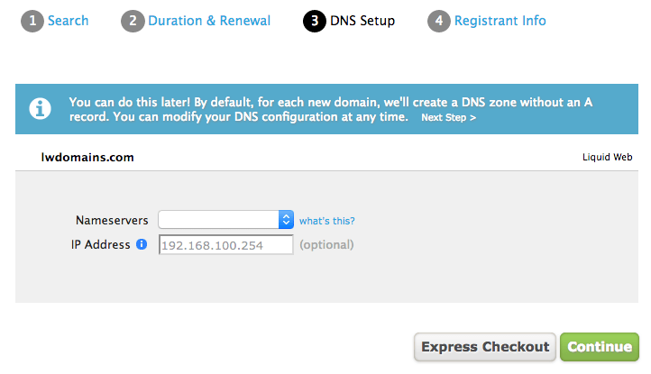 Set up your nameservers within the LIquid Web control panel for new domains!