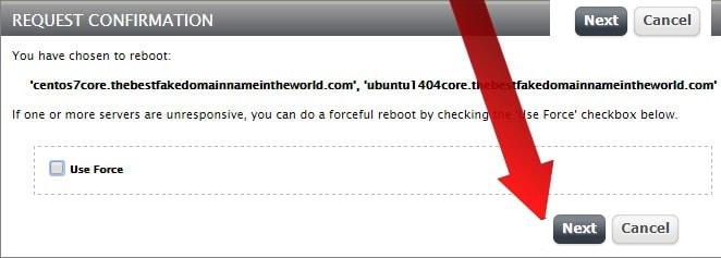 confirming the reboot request screenshot