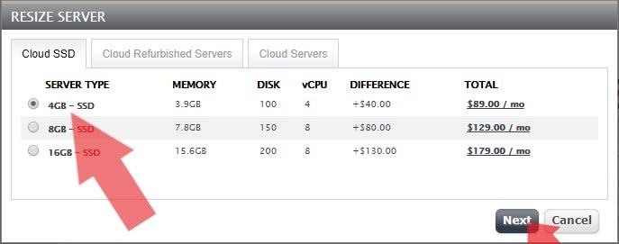 Select 4 GB Cloud SSD VPS