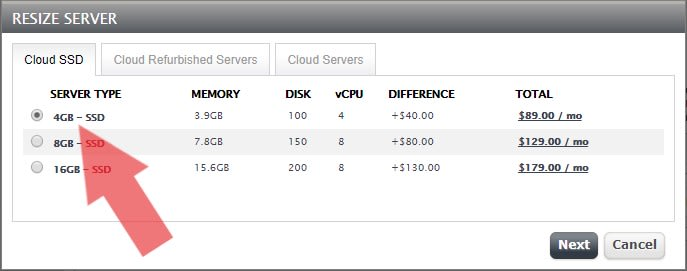 upgrade to an 4 GB Cloud SSD VPS