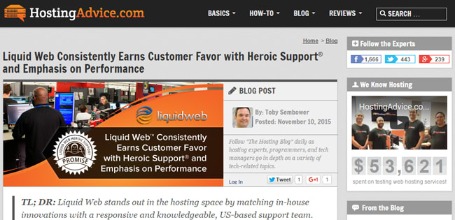 """Web Hosting Reviews Site """"HostingAdvice.com"""" Talks to Liquid Web Marketing and Sales Directors About Heroic Support®"""