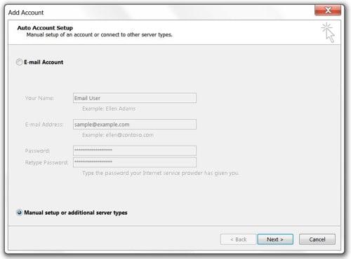 Add Account Setup screen