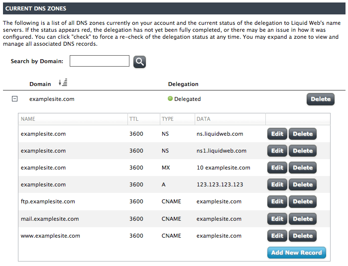 Add a DNS record in Manage