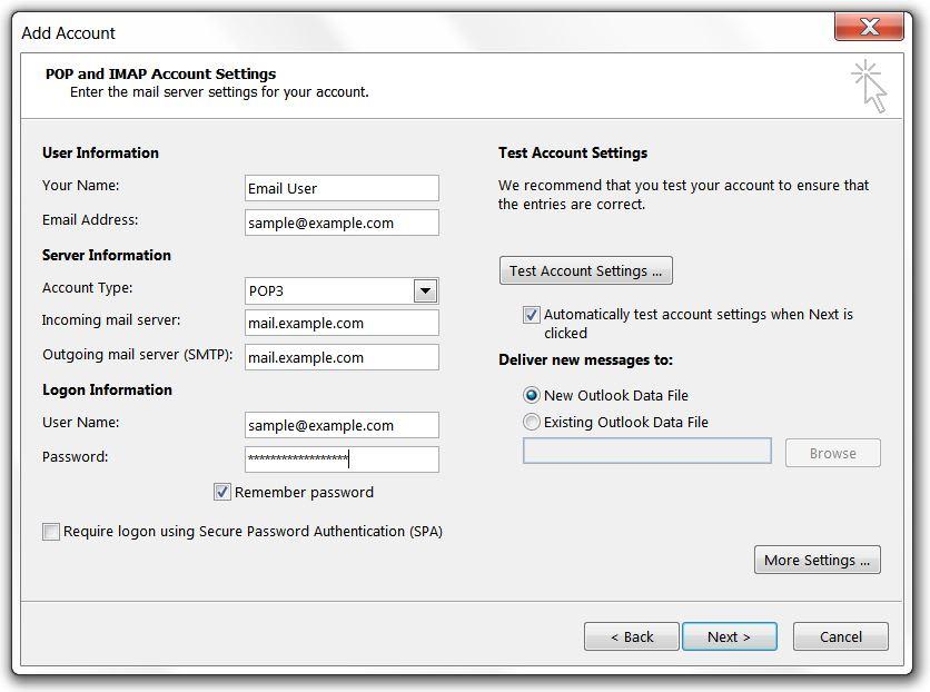 Non-SSL Account Settings