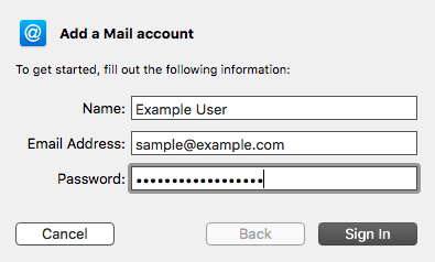 OSX 10.11 Add New Mail Account Screen