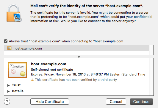 OSX 10.11 Can't Verify Self-signed SSL Certificate