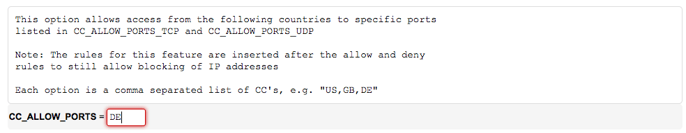 Allowing a country access to specified ports