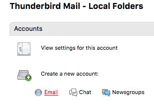 Create a new account in Thunderbird