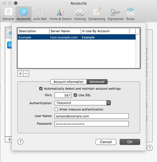 OSX 10.11 Advanced Account Settings